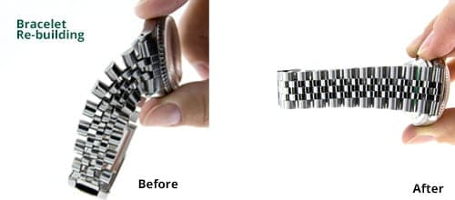 Before and After Picture of Bracelet Rebuilding